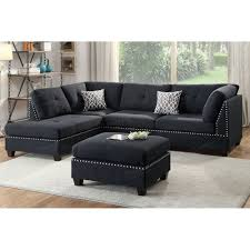 Poundex 3pc Sectional Sofa Set by Black 3 Pcs Sectional Sofa