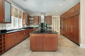 contemporary ceramic floor with mahogany kitchen cabinet for