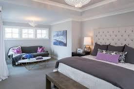 purple and gray bedroom with light gray ceiling transitional