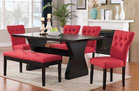 Ortanique Dining Room Table by Effie Red Fabric Walnut Espresso Wood 6pc Dining Room Set