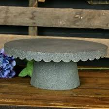 Get Quotations Scalloped Cake Tray Stand Rustic Galvanized Metal LARGE