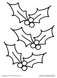 Holly For Christmas Coloring Page
