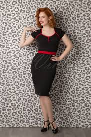 50s neva pencil dress in black and red