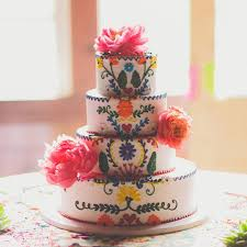 Wedding Cake Mexican Inspired Embroidery Colorful T