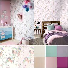 ARTHOUSE RAINBOW UNICORN WHITE PINK GLITTERATI GLITTER WALLPAPER KIDS GIRLS