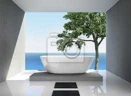 fototapete grau weiß modern eleganten luxus badezimmer interieur meerblick