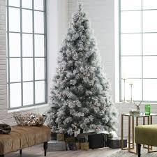 Belham Living Pre Lit Flocked Pine Needle Full Christmas Tree