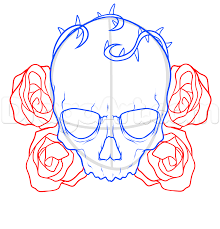 How To Draw A Skull And Roses Tattoo Step 5