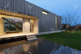 100 A Modern House Entrance Of Night Scene Stock Photo Picture Nd