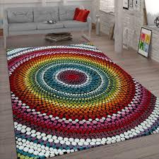 wohnzimmer teppich bunt kurzflor retro muster abstraktes