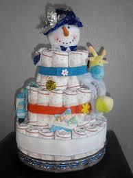 gâteau de couches bonhomme de neige bleu bébé kdo perso