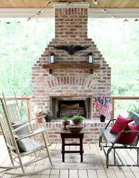 little rock outdoor brick fireplace deck traditional with