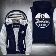yankees new york baseball super warm thicken fleece zip up hoodie