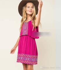 Christmas Big Girls Dress New Bohemian Style Floral Kids Ruffle Cotton Xmas Autumn Children