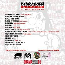 No Ceilings Mixtape 2 by Official Tracklist For Lil Wayne U0027s U201cdediction 4 U201d Mixtape