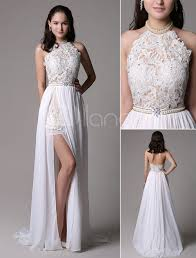 white prom dresses 2017 long ivory halter backless evening dress
