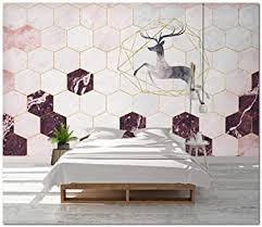 tapete wohnzimmer abstrakt stein muster golden rosa hexagon