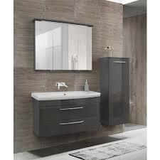 badmöbel set unterschrank keramik waschbecken ohne hahnloch 90x45 mit spiegelschrank