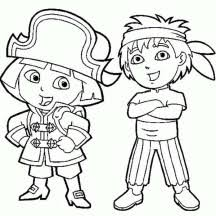 Dora And Diego Play Pirate In The Explorer Coloring Page