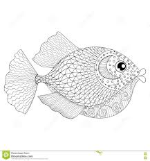 Hand Drawn Zentangle Fish For Adult Anti Stress Coloring Pages Royalty Free Stock Image