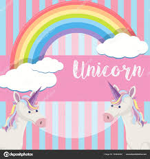 Cute Unicorn And Rainbow Background Illustration Vector By Brgfx