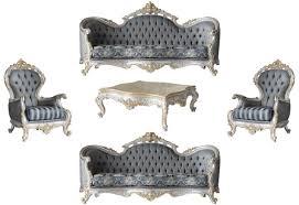 casa padrino luxus barock wohnzimmer set grau blau silber gold 2 sofas 2 sessel 1 couchtisch prunkvolle wohnzimmer möbel im barockstil