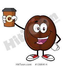 Clipart of a Cartoon Coffee Bean Mascot Character Holding up a Take out Cup Royalty