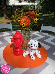 Fire Truck Centerpiece Personalized Plastic Cup Dalmation And Hydrant