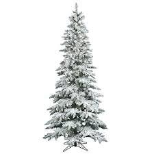 Vickerman 65 Flocked Slim Utica Fir Artificial Christmas Tree With 300 Warm White LED Lights
