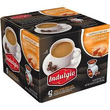 Indulgio Cappuccino Mix Single Serve Coffee Cups Sweet Salty Caramel
