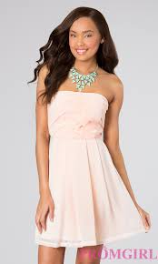 chiffon strapless semi formal dress short prom dresses promgirl
