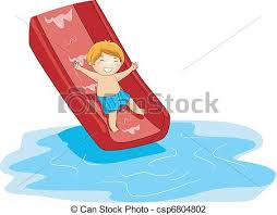 Pool Slide Illustration Of A Kid Playing In The Side
