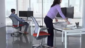 Dual Monitor Standing Desk Attachment by The Humanscale Quickstand Height Adjustable Workstation Youtube
