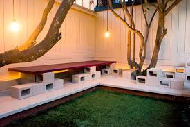 View In Gallery Cinder Block Table And Sculptures