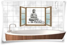 fliesen aufkleber fliesen bild fenster buddha statue steine grau spa wellness bad wc aufkleber folie deko