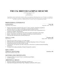 Driver Resume Samples Truck Sample Pdf