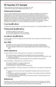 PE Teacher CV Sample