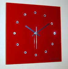 details zu design funk wanduhr glas rot silber swarovski elements wohnzimmer luxus modern