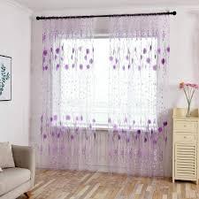 blau tonsee transparent voile gardinen mode blumen gedruckt