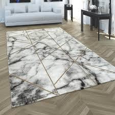 teppich wohnzimmer kurzflor modernes marmor design geometrisch grau gold grösse 80x150 cm