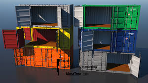 100 Shipping Container Model 20ft Dry Van Open Side Rigged 3D 3D Model