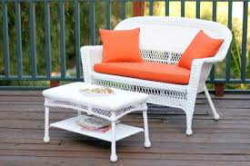 Wicker Furniture-2-Piece White Resin Wicker Patio Loveseat And Coffee Table  Furniture Set - Orange Cushion-FREE SHIPPING Outdoor Wicker Chairs Table Cosco Malmo 4piece Brown Resin Patio Cversation Set With Blue Cushions Panama Pecan Alinum And 4 Pc Cushion Lounge Ding 59 X 33 In Slat Top Suncrown Fniture Glass 3piece Allweather Thick Durable Washable Covers Porch 3pc Chair End Details About Easy Care Two Natural Sorrento 5 Cast Woven Swivel Bar 48 Round Jeco Inc W00501rg Beachcroft 7 Piece By Signature Design Ashley At Becker World Love Seat And Coffee Belham Living Montauk Rocking