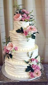 Rustic Country Old Fashioned Buttercream Wedding Cake With Pink Flowers