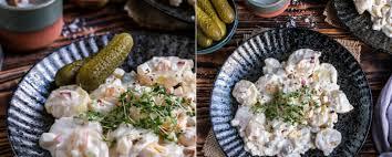 nordischer kartoffelsalat mit apfel zwiebel ei und gurke