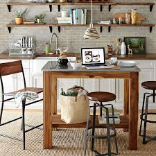 Full Picture Kitchen Diy Rustic Island Charming Glazed White Floor Tiles Dining Table Sets Wall Stainless