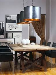 Dining Room Tables Rustic Style In Wooden Table Black Chairs Metal Chandeliers