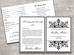Black And White Diy Half Fold Wedding Programs Regency Program Template Microsoft Word