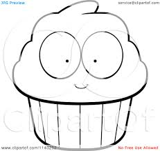 File Name Cartoon Clipart A Black And White Cupcake Character Cmct2a Clipart