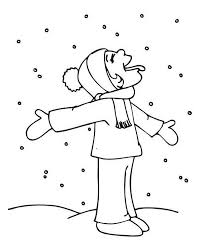 Funny Kid Tasting Snow On Winter Coloring Page
