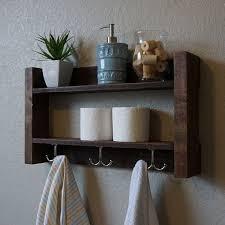 Modern Rustic 2 Tier Bathroom Shelf With Nickel Finish Towel Hooks